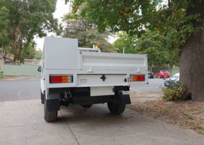 Rear view custom ute tray with boxes