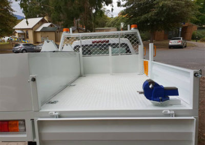 Rear view of custom ute tray with boxes